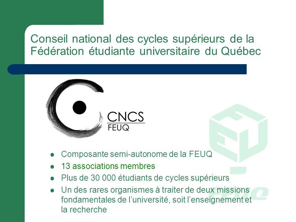 Composante semi-autonome de la FEUQ 13 associations membres Plus de 30 000 étudiants de cycles supérieurs Un des rares organismes à traiter de deux missions fondamentales de luniversité, soit lenseignement et la recherche