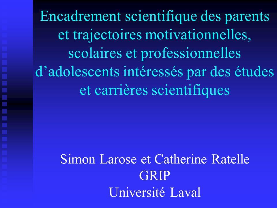 Encadrement scientifique des parents et trajectoires motivationnelles, scolaires et professionnelles dadolescents intéressés par des études et carrières scientifiques Simon Larose et Catherine Ratelle GRIP Université Laval