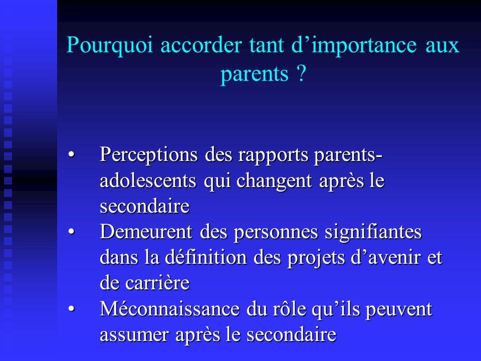 Description de lencadrement des parents en fonction du secteur détudes