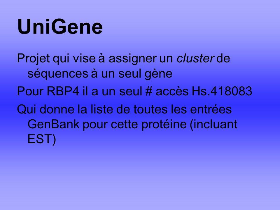 UniGene Projet qui vise à assigner un cluster de séquences à un seul gène Pour RBP4 il a un seul # accès Hs.418083 Qui donne la liste de toutes les entrées GenBank pour cette protéine (incluant EST)