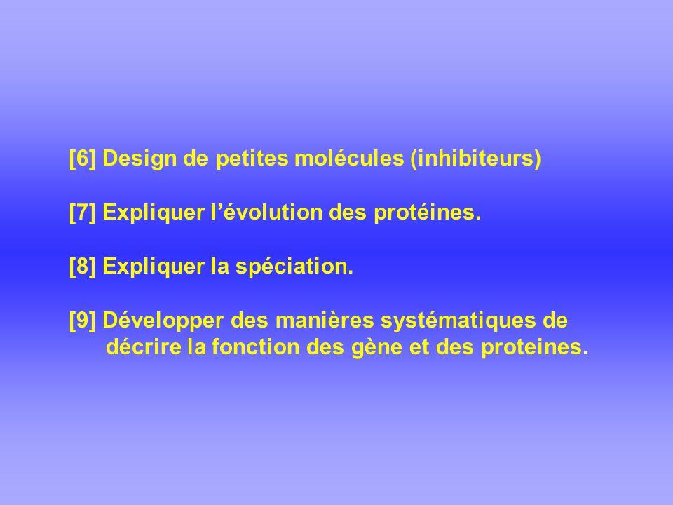 [6] Design de petites molécules (inhibiteurs) [7] Expliquer lévolution des protéines.