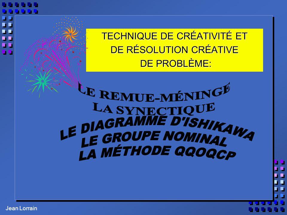 Jean Lorrain TECHNIQUE DE CRÉATIVITÉ ET DE RÉSOLUTION CRÉATIVE DE PROBLÈME: DE PROBLÈME: