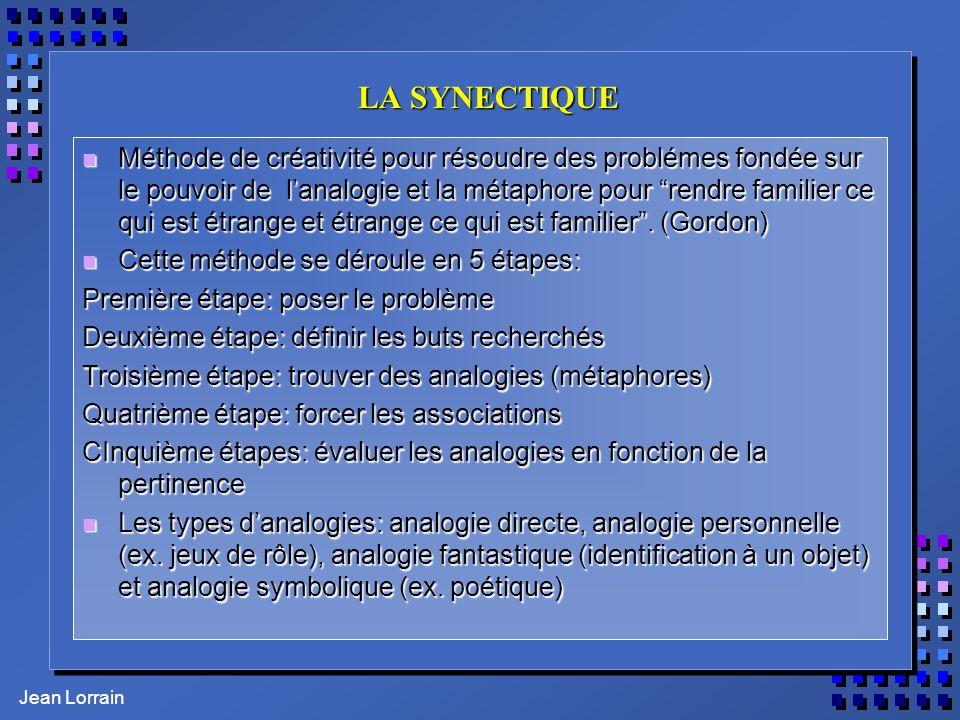 Jean Lorrain LA SYNECTIQUE n Méthode de créativité pour résoudre des problémes fondée sur le pouvoir de lanalogie et la métaphore pour rendre familier