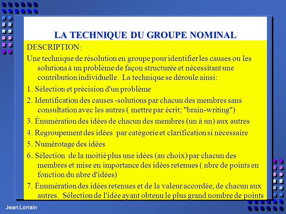 Jean Lorrain LA TECHNIQUE DU GROUPE NOMINAL DESCRIPTION: Une technique de résolution en groupe pour identifier les causes ou les solutions à un problè