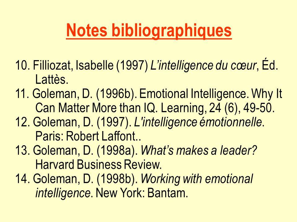 Notes bibliographiques 10.Filliozat, Isabelle (1997) Lintelligence du cœur, Éd.