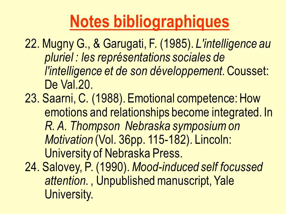 Notes bibliographiques 22. Mugny G., & Garugati, F. (1985). L'intelligence au pluriel : les représentations sociales de l'intelligence et de son dével