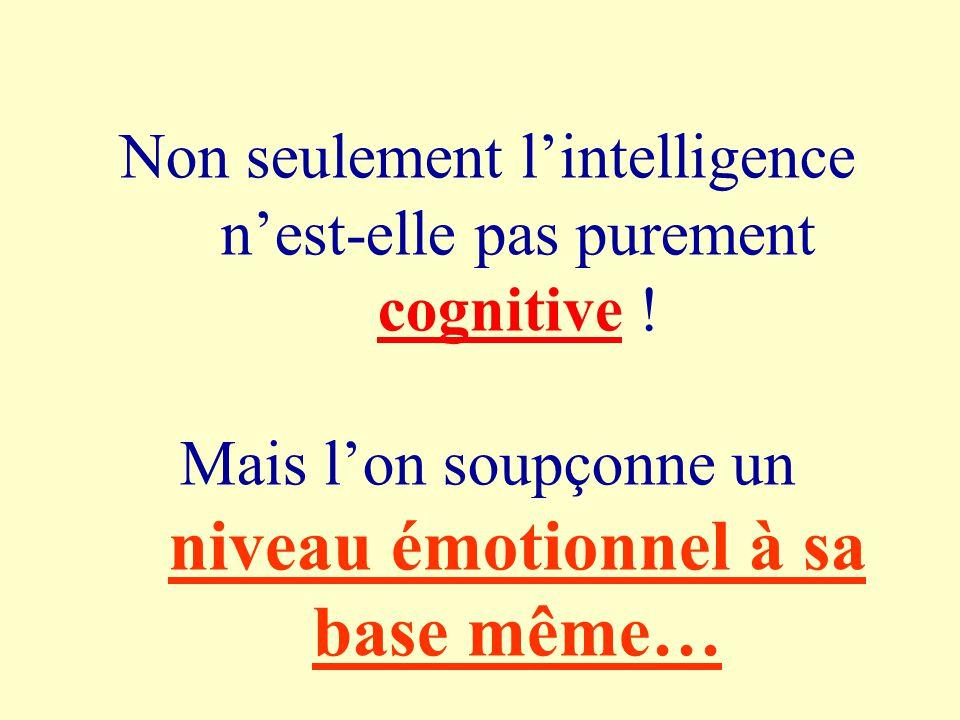 Non seulement lintelligence nest-elle pas purement cognitive .
