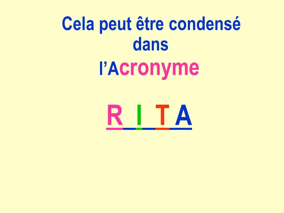 Cela peut être condensé dans lA cronyme R I T A