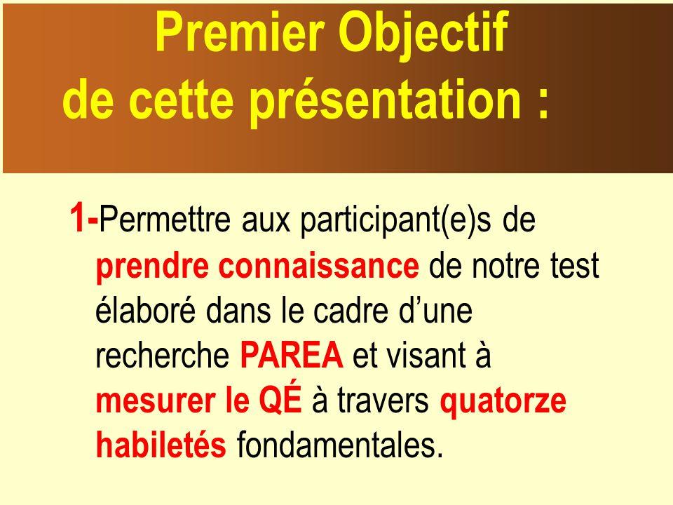 1- Permettre aux participant(e)s de prendre connaissance de notre test élaboré dans le cadre dune recherche PAREA et visant à mesurer le QÉ à travers quatorze habiletés fondamentales.