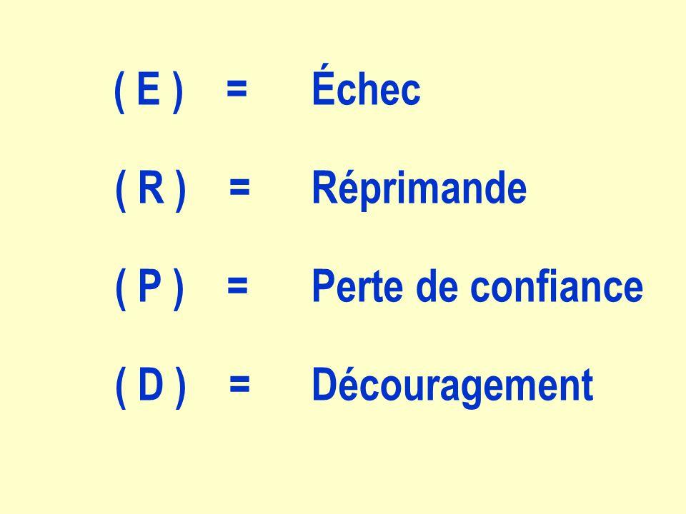 ( E ) = Échec ( R ) = Réprimande ( P ) = Perte de confiance ( D ) = Découragement