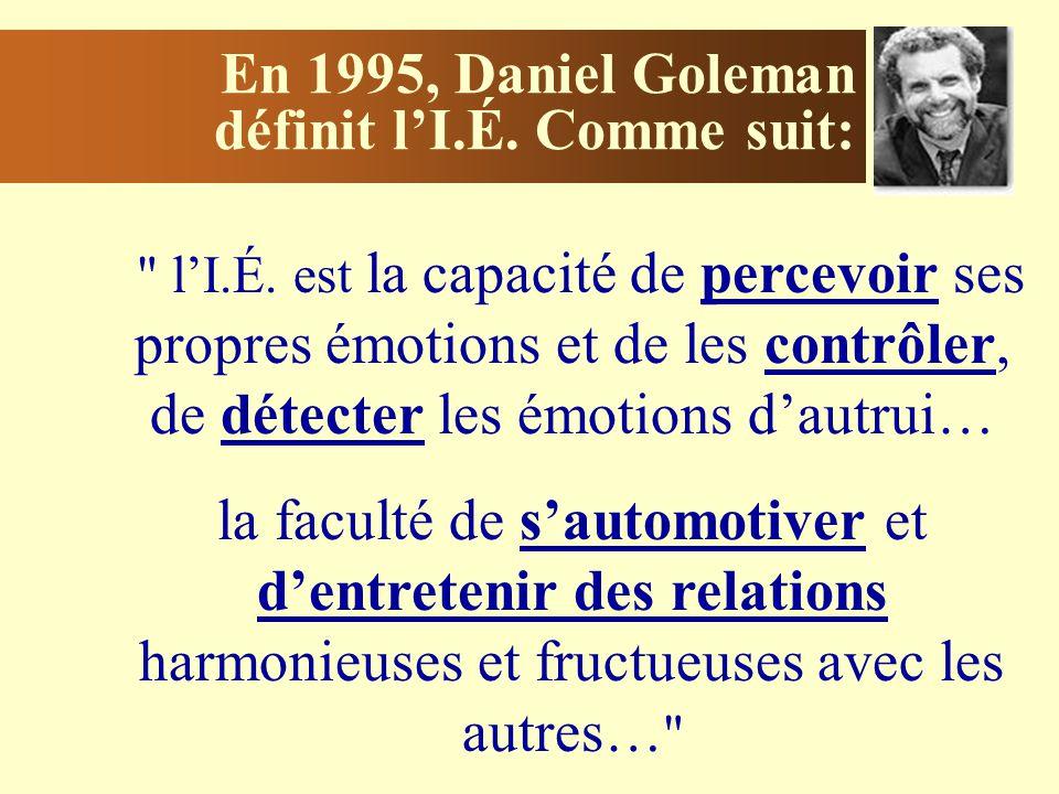 En 1995, Daniel Goleman définit lI.É.Comme suit: lI.É.