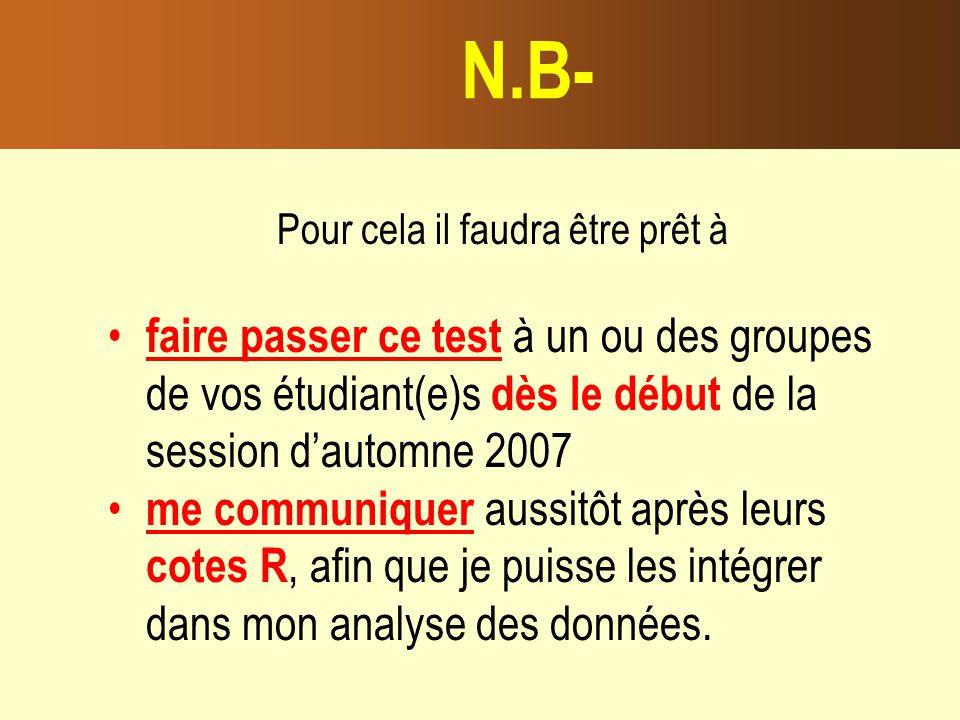 Pour cela il faudra être prêt à faire passer ce test à un ou des groupes de vos étudiant(e)s dès le début de la session dautomne 2007 me communiquer aussitôt après leurs cotes R, afin que je puisse les intégrer dans mon analyse des données.