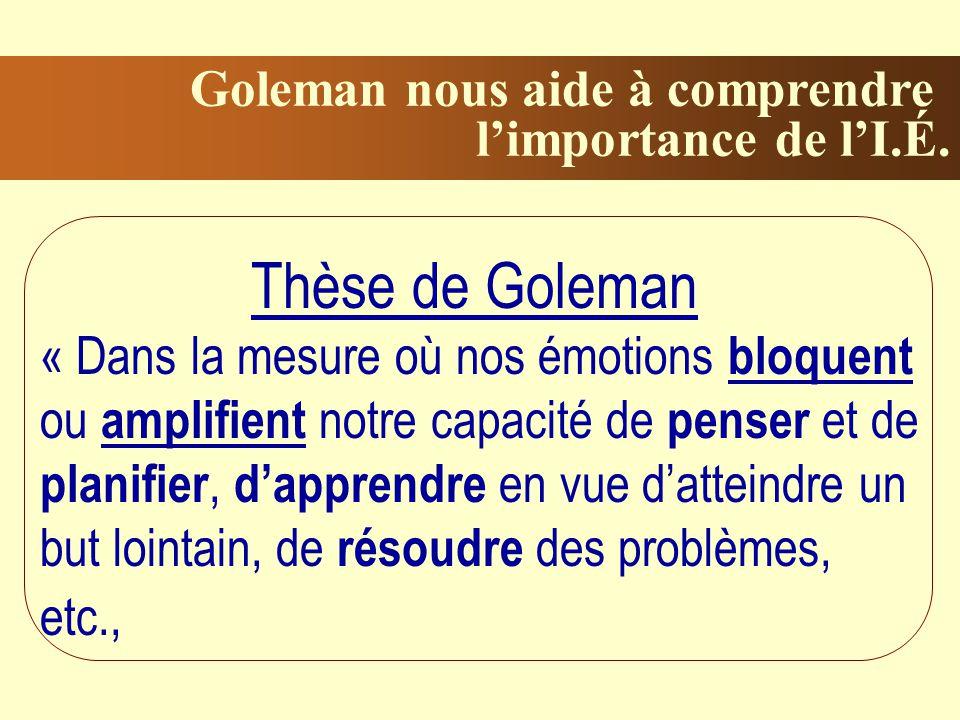 Goleman nous aide à comprendre limportance de lI.É.