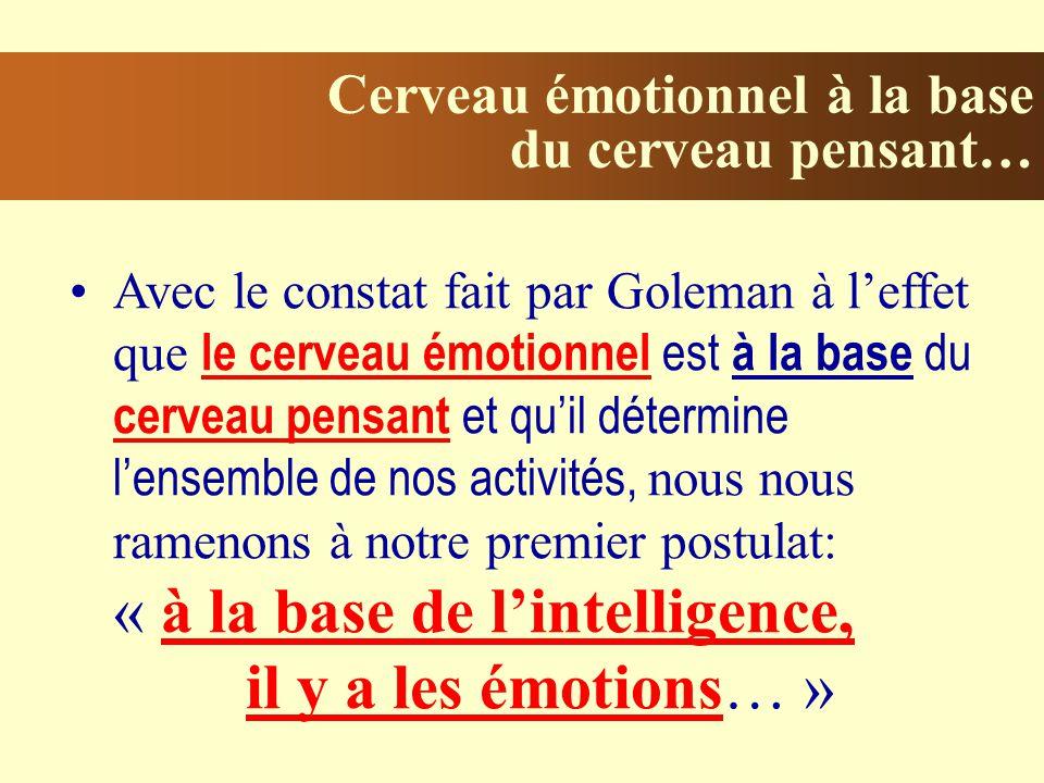 Cerveau émotionnel à la base du cerveau pensant… Avec le constat fait par Goleman à leffet que le cerveau émotionnel est à la base du cerveau pensant et quil détermine lensemble de nos activités, nous nous ramenons à notre premier postulat: « à la base de lintelligence, il y a les émotions… »