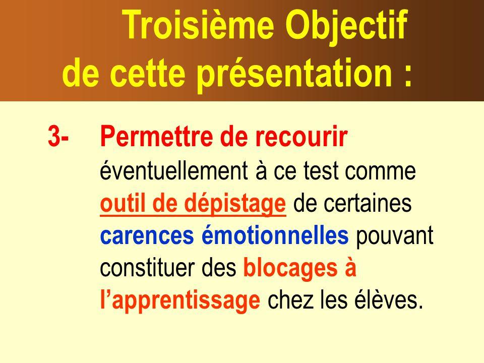 3- Permettre de recourir éventuellement à ce test comme outil de dépistage de certaines carences émotionnelles pouvant constituer des blocages à lapprentissage chez les élèves.