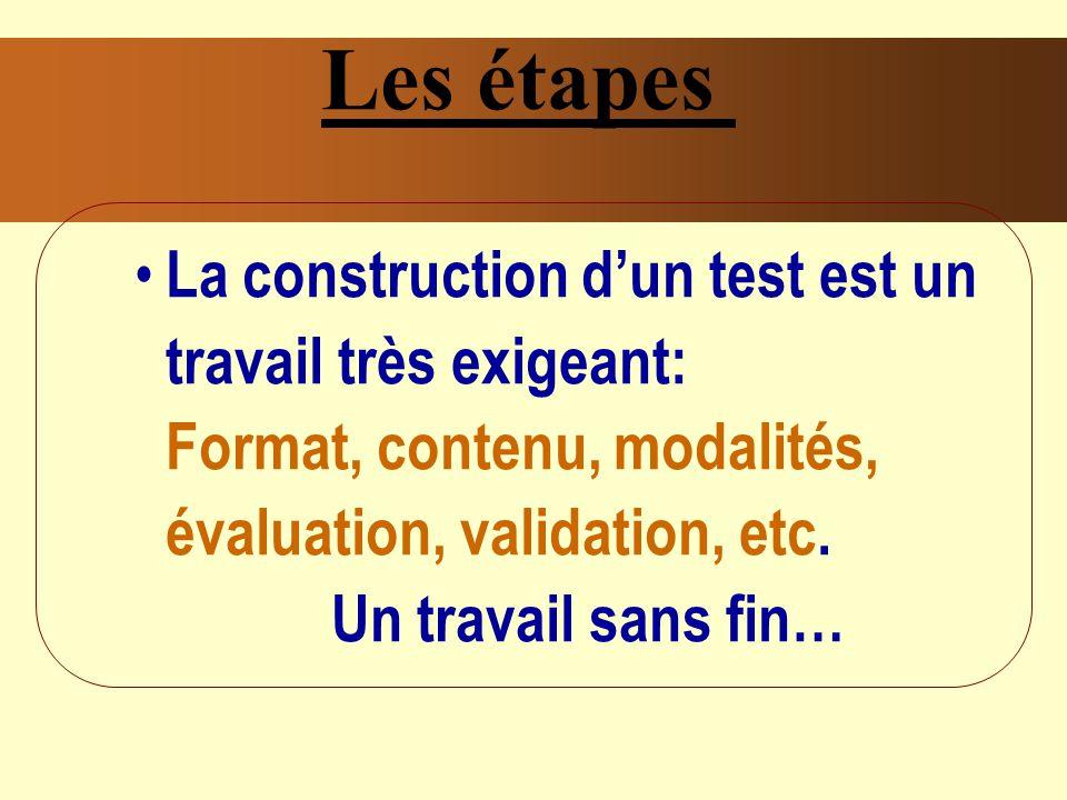 Les étapes La construction dun test est un travail très exigeant: Format, contenu, modalités, évaluation, validation, etc.