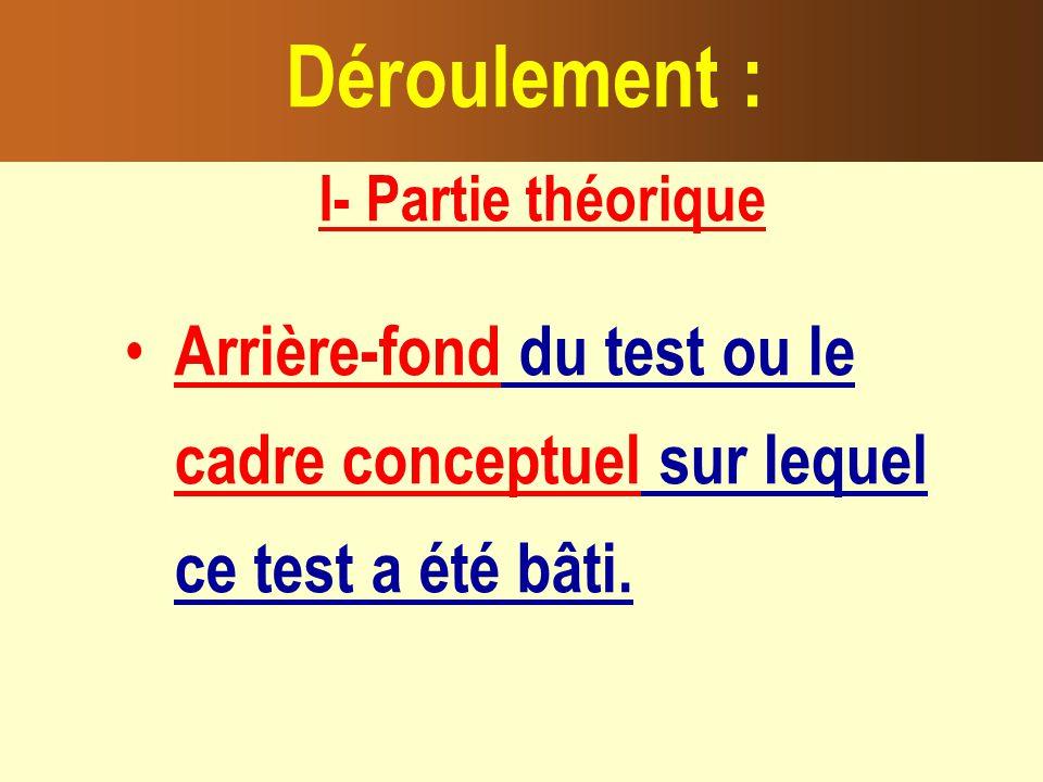 I- Partie théorique Arrière-fond du test ou le cadre conceptuel sur lequel ce test a été bâti.