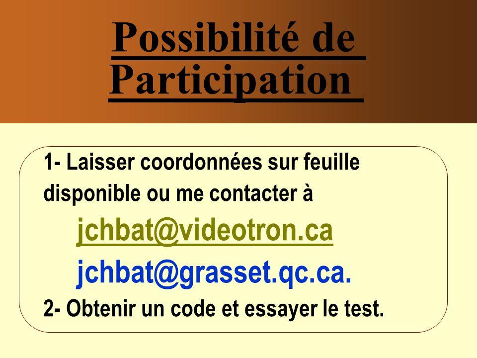 Possibilité de Participation 1- Laisser coordonnées sur feuille disponible ou me contacter à jchbat@videotron.ca jchbat@videotron.ca jchbat@grasset.qc.ca.