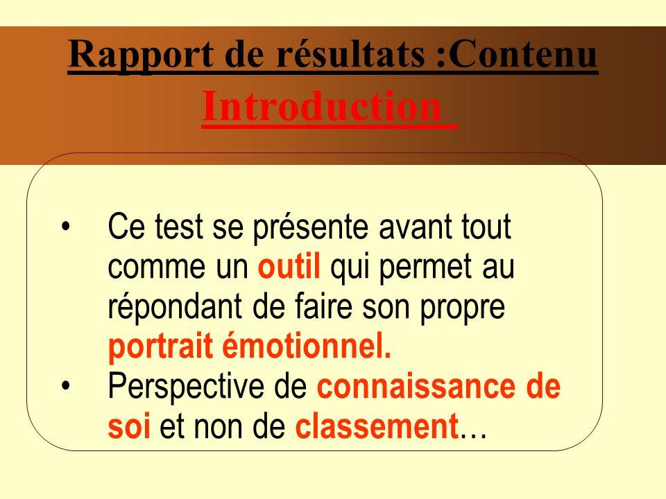 Rapport de résultats :Contenu Introduction Ce test se présente avant tout comme un outil qui permet au répondant de faire son propre portrait émotionnel.