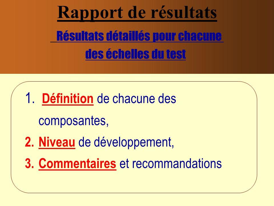 Rapport de résultats Résultats détaillés pour chacune des échelles du test 1.