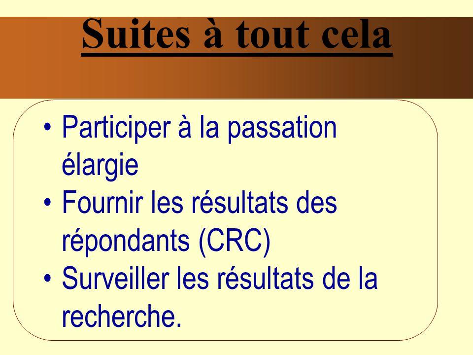 Suites à tout cela Participer à la passation élargie Fournir les résultats des répondants (CRC) Surveiller les résultats de la recherche.