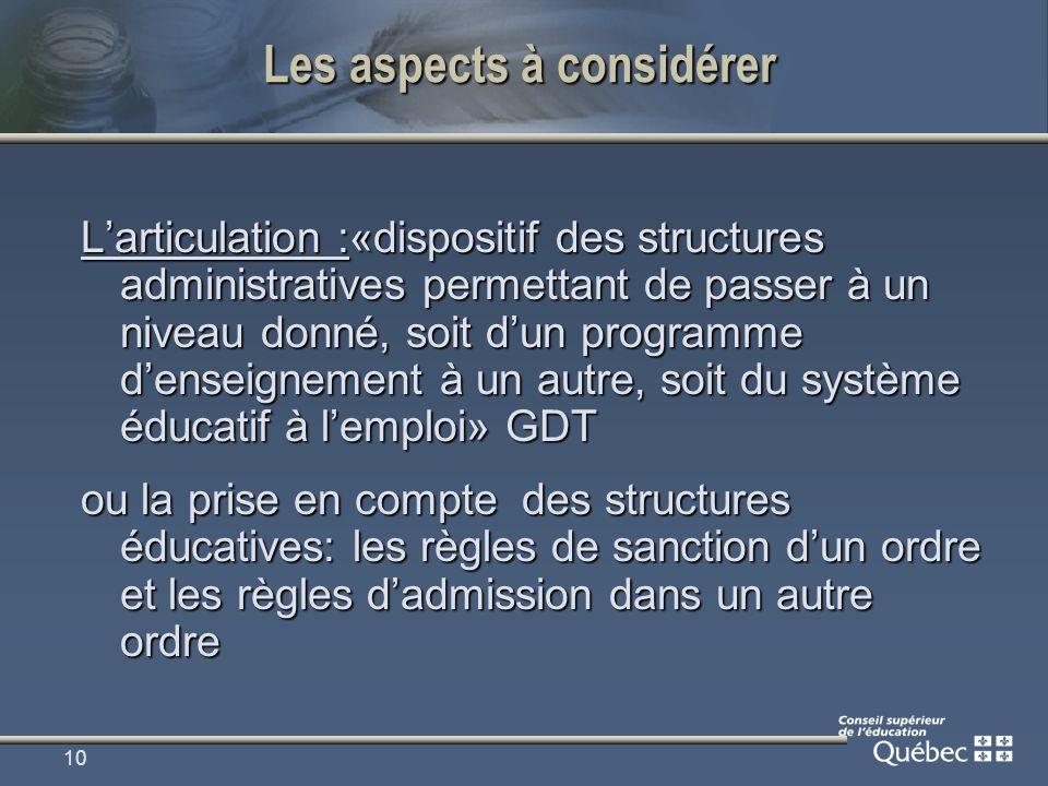 10 Les aspects à considérer Larticulation :«dispositif des structures administratives permettant de passer à un niveau donné, soit dun programme dense