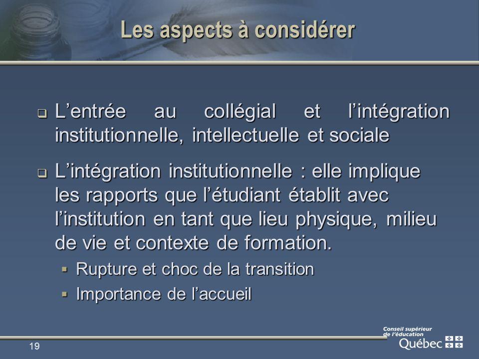19 Les aspects à considérer Lentrée au collégial et lintégration institutionnelle, intellectuelle et sociale Lentrée au collégial et lintégration inst