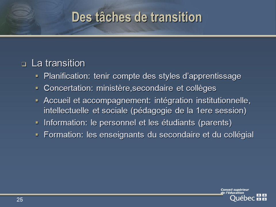 25 Des tâches de transition La transition La transition Planification: tenir compte des styles dapprentissage Planification: tenir compte des styles d