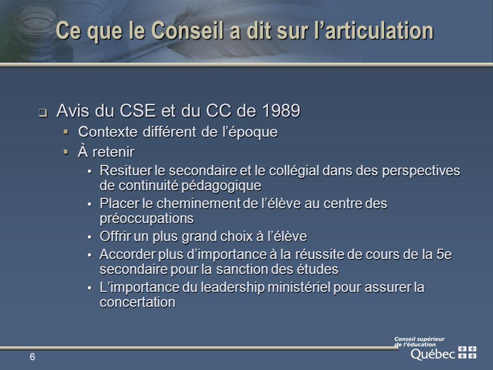 6 Ce que le Conseil a dit sur larticulation Avis du CSE et du CC de 1989 Avis du CSE et du CC de 1989 Contexte différent de lépoque Contexte différent de lépoque À retenir À retenir Resituer le secondaire et le collégial dans des perspectives de continuité pédagogique Resituer le secondaire et le collégial dans des perspectives de continuité pédagogique Placer le cheminement de lélève au centre des préoccupations Placer le cheminement de lélève au centre des préoccupations Offrir un plus grand choix à lélève Offrir un plus grand choix à lélève Accorder plus dimportance à la réussite de cours de la 5e secondaire pour la sanction des études Accorder plus dimportance à la réussite de cours de la 5e secondaire pour la sanction des études Limportance du leadership ministériel pour assurer la concertation Limportance du leadership ministériel pour assurer la concertation