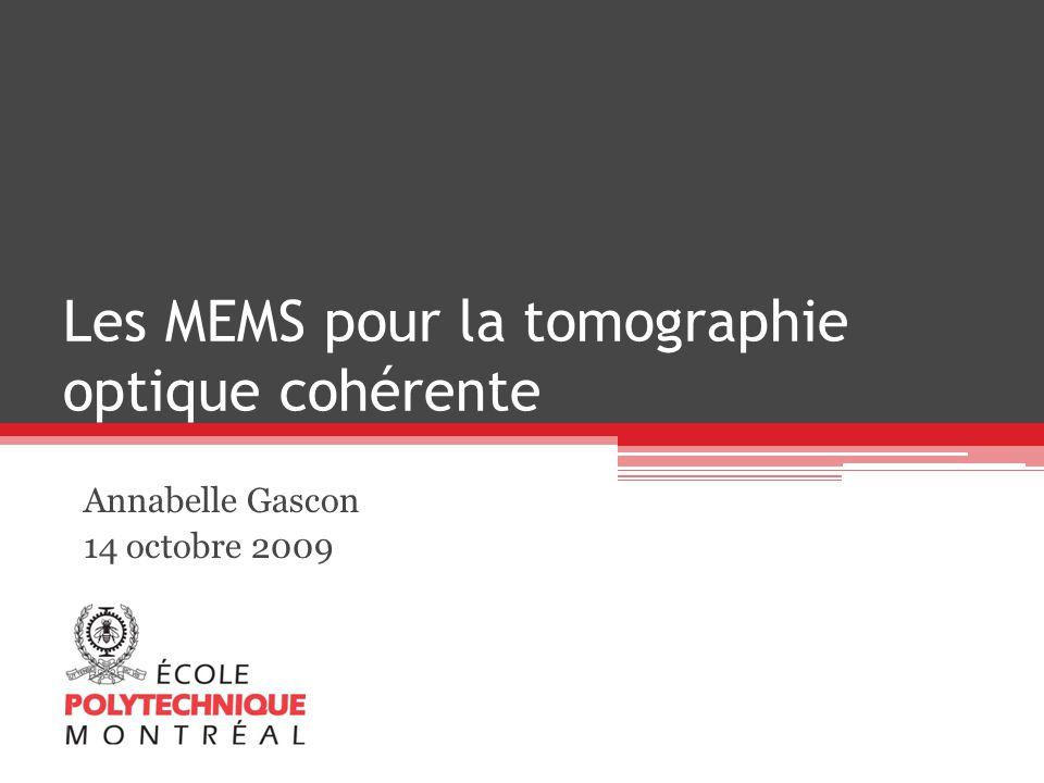 Plan La tomographie optique cohérente (OCT) Contexte Théorie Schéma de principe MEMS pour lOCT Scan latéral pour imagerie 2D et 3D Microlentille Laser accordable 2