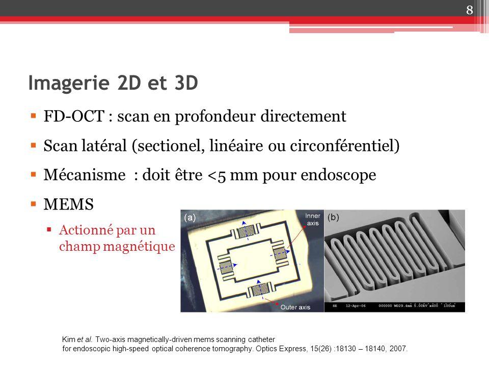 Imagerie 2D et 3D 8 FD-OCT : scan en profondeur directement Scan latéral (sectionel, linéaire ou circonférentiel) Mécanisme : doit être <5 mm pour end