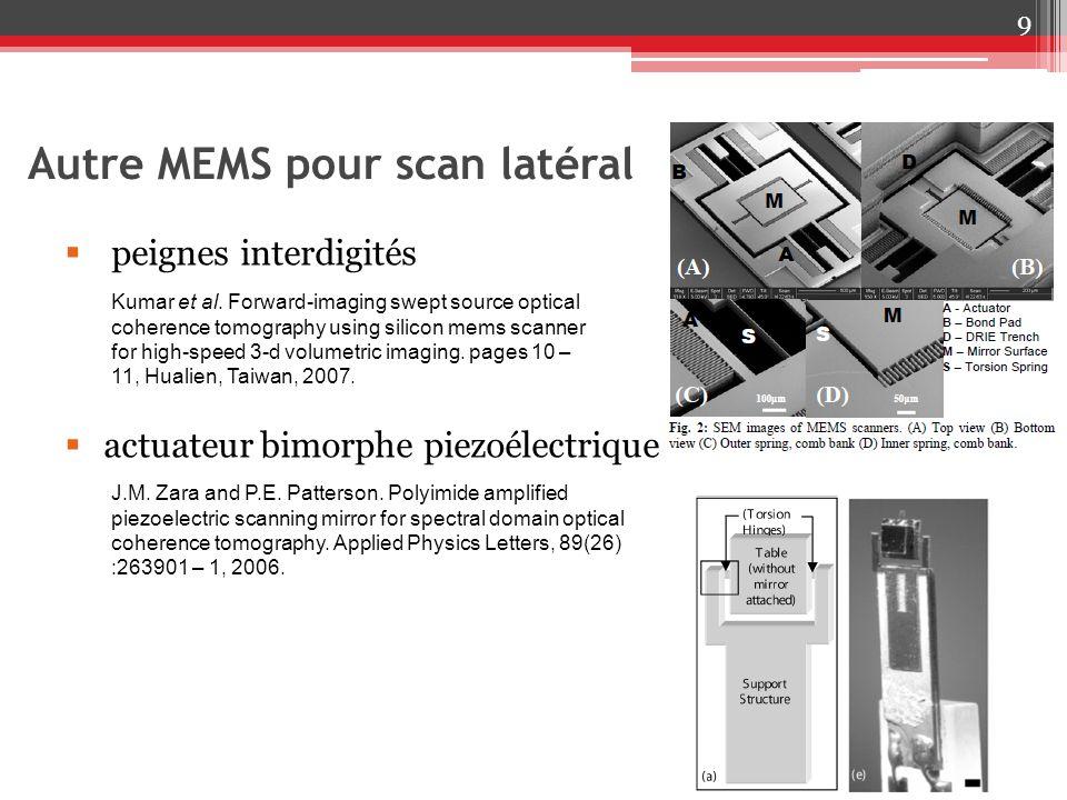 Autre MEMS pour scan latéral 9 peignes interdigités actuateur bimorphe piezoélectrique Kumar et al. Forward-imaging swept source optical coherence tom