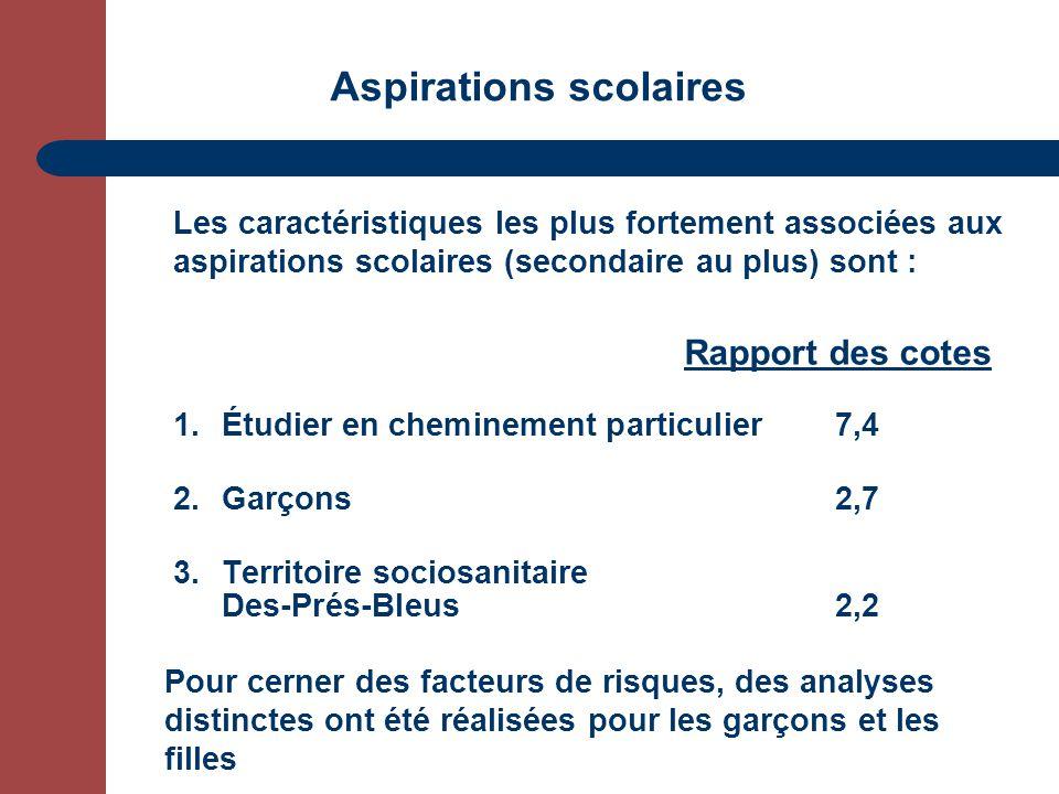 Aspirations scolaires 1.Étudier en cheminement particulier7,4 2.Garçons2,7 3.Territoire sociosanitaire Des-Prés-Bleus 2,2 Rapport des cotes Pour cerne