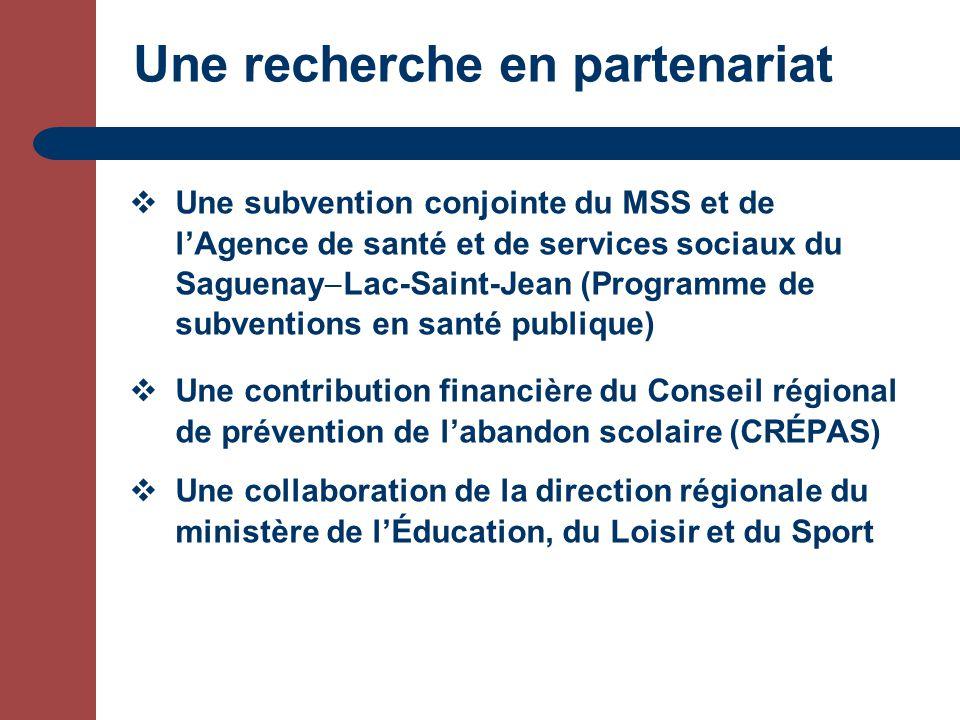 Une recherche en partenariat Une subvention conjointe du MSS et de lAgence de santé et de services sociaux du Saguenay Lac-Saint-Jean (Programme de subventions en santé publique) Une contribution financière du Conseil régional de prévention de labandon scolaire (CRÉPAS) Une collaboration de la direction régionale du ministère de lÉducation, du Loisir et du Sport