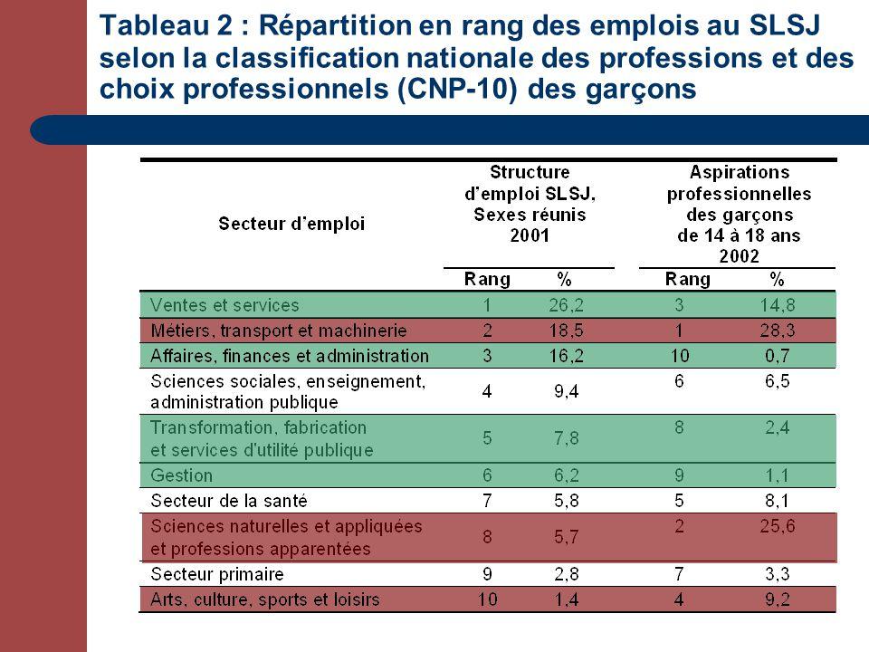 Tableau 2 : Répartition en rang des emplois au SLSJ selon la classification nationale des professions et des choix professionnels (CNP-10) des garçons