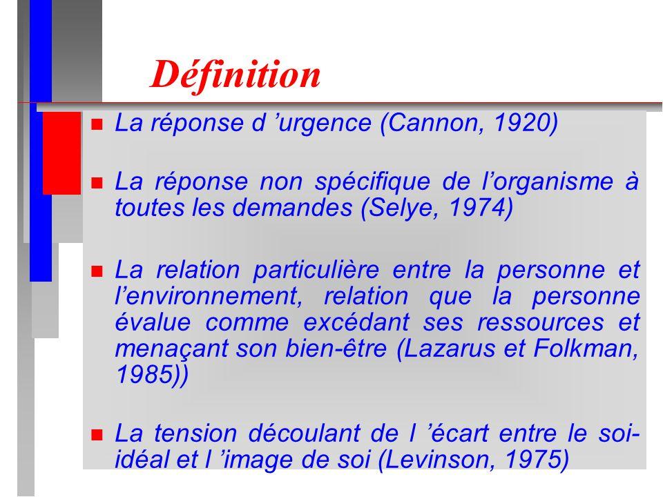 Définition n La réponse d urgence (Cannon, 1920) n La réponse non spécifique de lorganisme à toutes les demandes (Selye, 1974) n La relation particulière entre la personne et lenvironnement, relation que la personne évalue comme excédant ses ressources et menaçant son bien-être (Lazarus et Folkman, 1985)) n La tension découlant de l écart entre le soi- idéal et l image de soi (Levinson, 1975)
