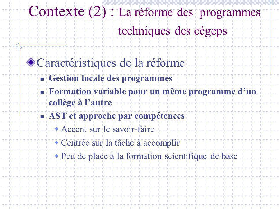 Contexte (2) : La réforme des programmes techniques des cégeps Caractéristiques de la réforme Gestion locale des programmes Formation variable pour un même programme dun collège à lautre AST et approche par compétences Accent sur le savoir-faire Centrée sur la tâche à accomplir Peu de place à la formation scientifique de base