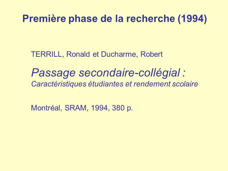 TERRILL, Ronald et Ducharme, Robert Passage secondaire-collégial : Caractéristiques étudiantes et rendement scolaire Montréal, SRAM, 1994, 380 p. Prem