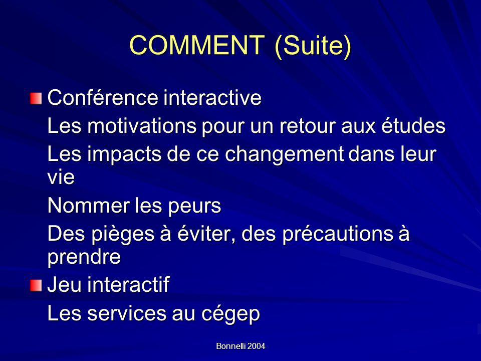 Bonnelli 2004 COMMENT (Suite) Conférence interactive Les motivations pour un retour aux études Les impacts de ce changement dans leur vie Nommer les p