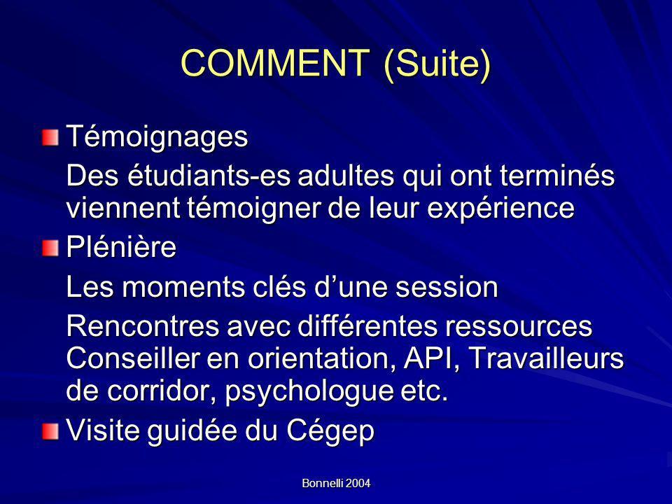 Bonnelli 2004 COMMENT (Suite) Témoignages Des étudiants-es adultes qui ont terminés viennent témoigner de leur expérience Plénière Les moments clés dune session Rencontres avec différentes ressources Conseiller en orientation, API, Travailleurs de corridor, psychologue etc.