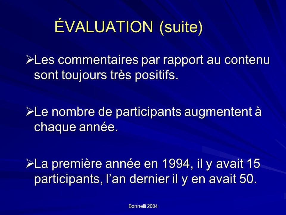 Bonnelli 2004 ÉVALUATION (suite) Les commentaires par rapport au contenu sont toujours très positifs. Les commentaires par rapport au contenu sont tou