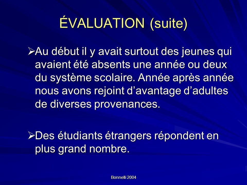 Bonnelli 2004 ÉVALUATION (suite) Au début il y avait surtout des jeunes qui avaient été absents une année ou deux du système scolaire.