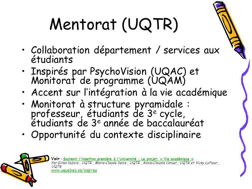 Cyber mentorat (UQAM) PsyberMentor est un lieu d échange pour les professionnels et les étudiants du domaine de la psychologie Dans cette communauté virtuelle , professionnels et étudiants peuvent s informer des événements dans le domaine, s échanger des ressources et créer des liens entre eux.