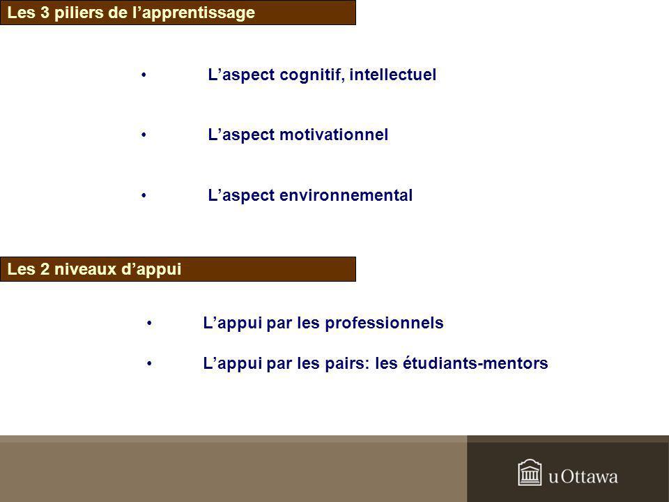 Les 3 piliers de lapprentissage Laspect cognitif, intellectuel Laspect motivationnel Laspect environnemental Les 2 niveaux dappui Lappui par les profe