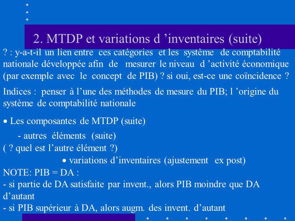 2. MTDP et variations d inventaires (suite) ? : y-a-t-il un lien entre ces catégories et les système de comptabilité nationale développée afin de mesu