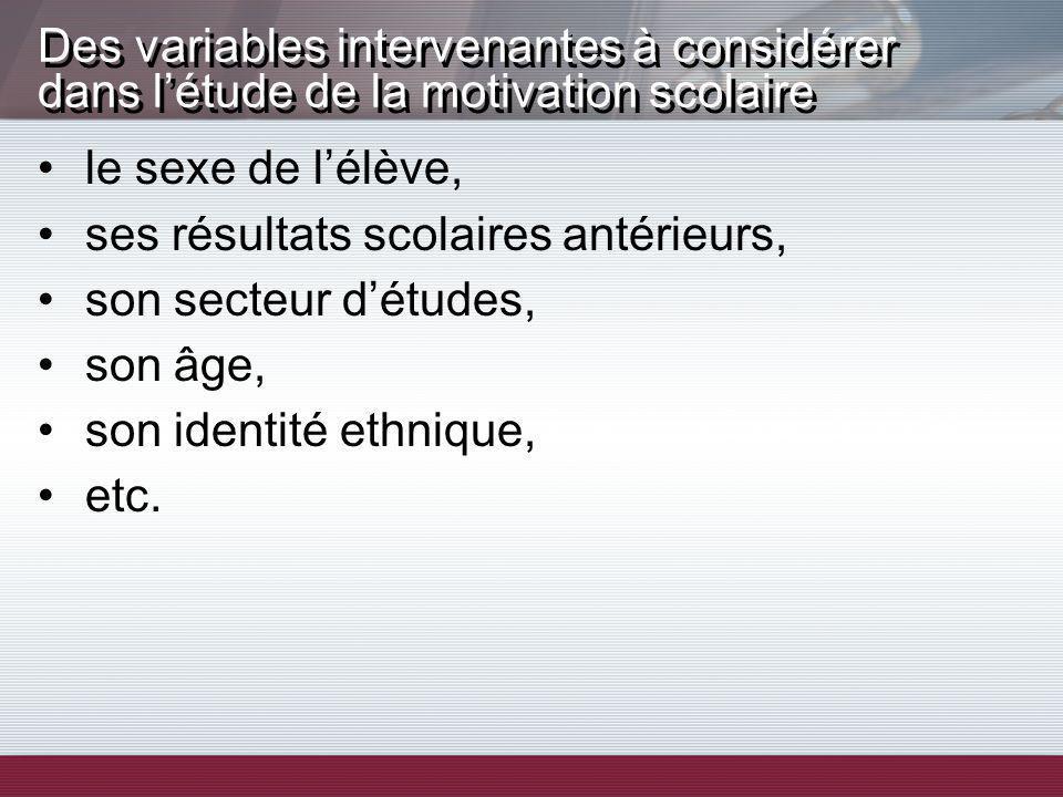 le sexe de lélève, ses résultats scolaires antérieurs, son secteur détudes, son âge, son identité ethnique, etc. Des variables intervenantes à considé