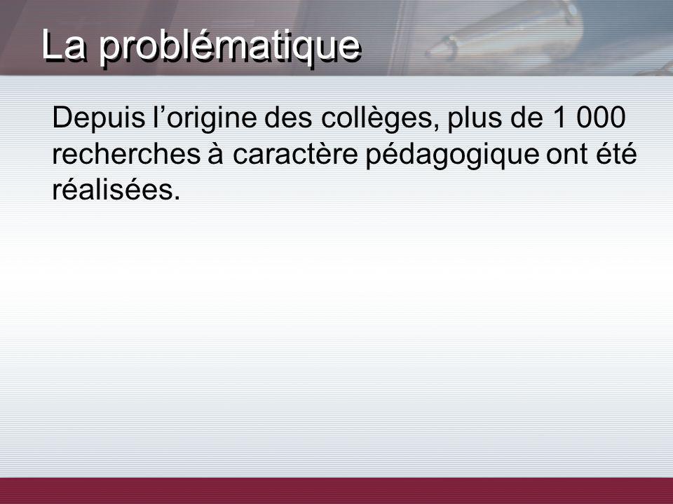La problématique Depuis lorigine des collèges, plus de 1 000 recherches à caractère pédagogique ont été réalisées.