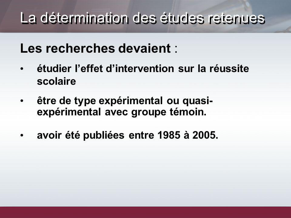 La détermination des études retenues Les recherches devaient : étudier leffet dintervention sur la réussite scolaire être de type expérimental ou quasi- expérimental avec groupe témoin.