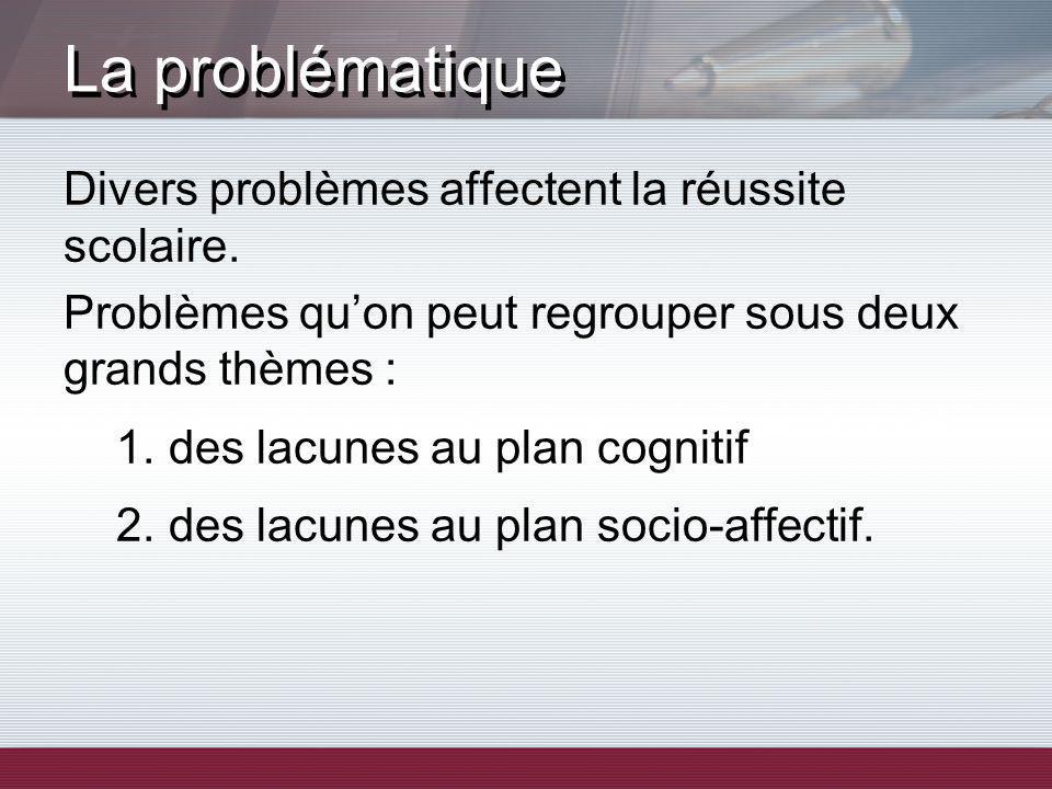 Divers problèmes affectent la réussite scolaire. Problèmes quon peut regrouper sous deux grands thèmes : 1.des lacunes au plan cognitif 2.des lacunes