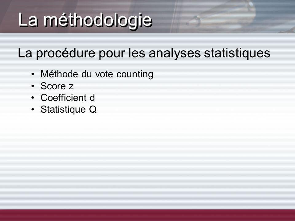 La méthodologie La procédure pour les analyses statistiques Méthode du vote counting Score z Coefficient d Statistique Q